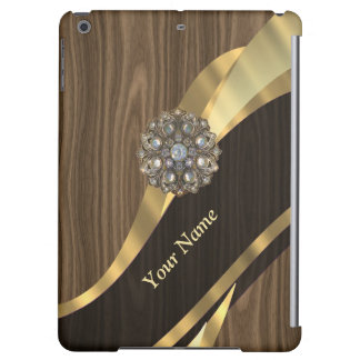 Personalized pretty faux wood iPad air case