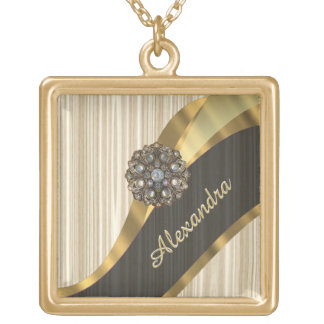 Personalized pretty faux wooden gold plated necklace