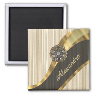 Personalized pretty faux wooden 2 inch square magnet