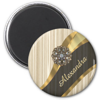 Personalized pretty faux wooden 2 inch round magnet