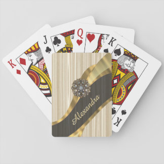 Personalized pretty faux wooden playing cards