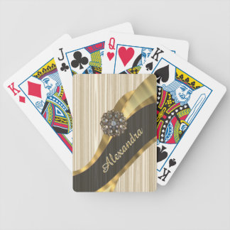 Personalized pretty faux wooden bicycle playing cards