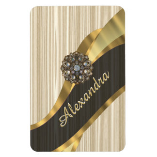 Personalized pretty faux wooden rectangular photo magnet
