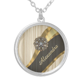 Personalized pretty faux wooden silver plated necklace