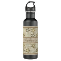 Personalized Pretty Floral Pattern Earthy Colors Water Bottle