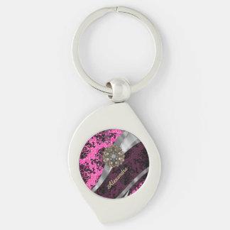Personalized  pretty girly fuchsia damask pattern keychain