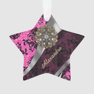 Personalized  pretty girly fuchsia damask pattern ornament