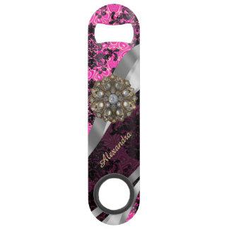 Personalized  pretty girly fuchsia damask pattern speed bottle opener