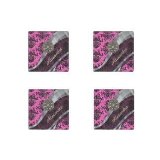 Personalized  pretty girly fuchsia damask pattern stone magnet