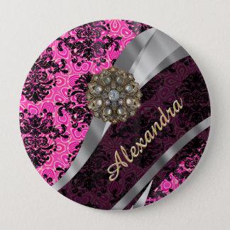 Personalized pretty girly pink damask pattern button