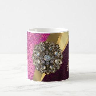 Personalized pretty girly pink damask pattern coffee mug
