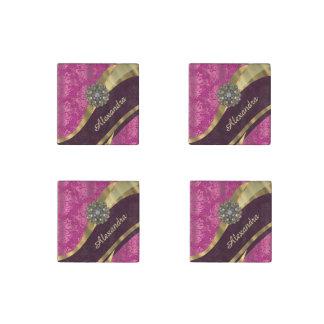 Personalized pretty girly pink damask pattern stone magnet