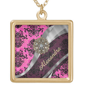 Personalized pretty girly pink damask pattern gold plated necklace