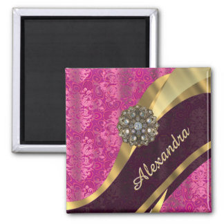 Personalized pretty girly pink damask pattern 2 inch square magnet