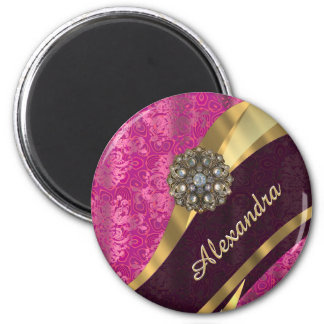 Personalized pretty girly pink damask pattern 2 inch round magnet