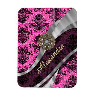 Personalized pretty girly pink damask pattern magnet