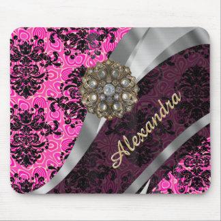 Personalized pretty girly pink damask pattern mouse pad