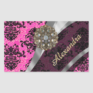 Personalized pretty girly pink damask pattern rectangular sticker