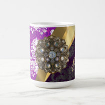 Personalized pretty girly purple damask pattern coffee mug