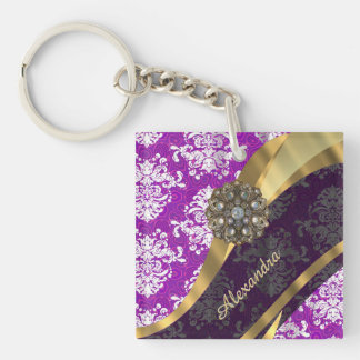 Personalized pretty girly purple damask pattern Double-Sided square acrylic keychain