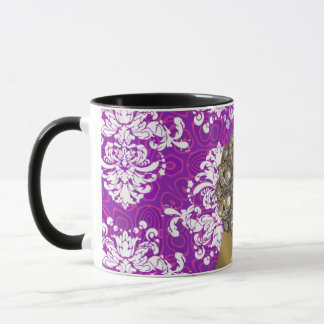 Personalized pretty girly purple damask pattern mug