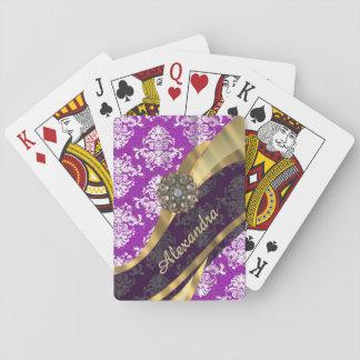 Personalized  pretty girly purple damask pattern poker cards