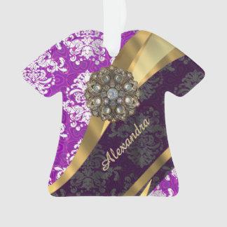 Personalized  pretty girly purple damask pattern ornament