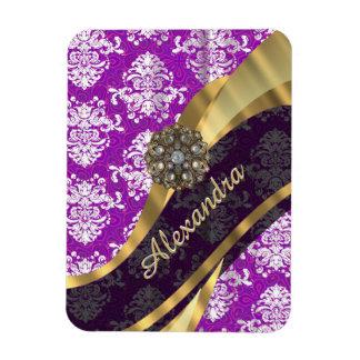 Personalized pretty girly purple damask pattern rectangular photo magnet