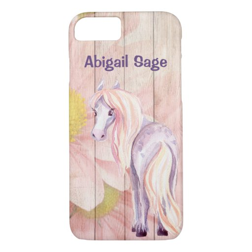 Personalized Pretty Horse and Daisies on Barn Wood iPhone 8/7 Case