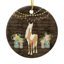 Personalized Pretty Horse and Flowers Rustic Wood Ceramic Ornament