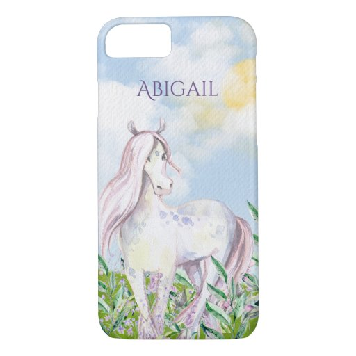 Personalized Pretty Horse in Field of Flowers iPhone 8/7 Case