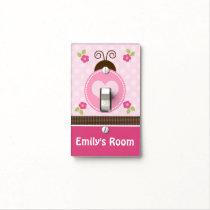 Personalized Pretty Ladybug & Flowers Switch Plate