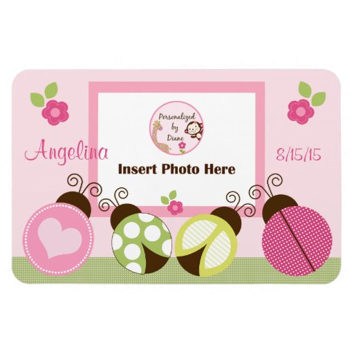 Personalized Pretty Ladybugs & Flower Photo Magnet