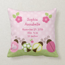 "Personalized ""Pretty Ladybugs & Flowers"" Pillow"