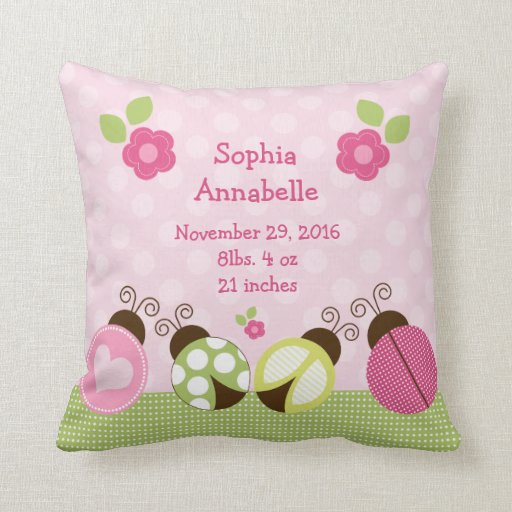 "Personalized ""Pretty Ladybugs & Flowers"" Pillow"