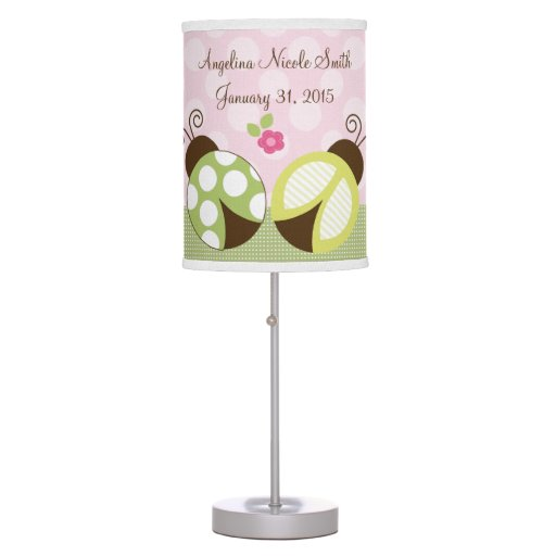 Personalized Pretty Ladybugs Nursery Lamp