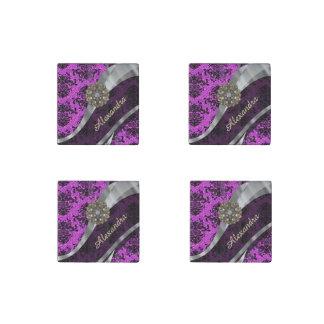 Personalized pretty magenta girly damask pattern stone magnet