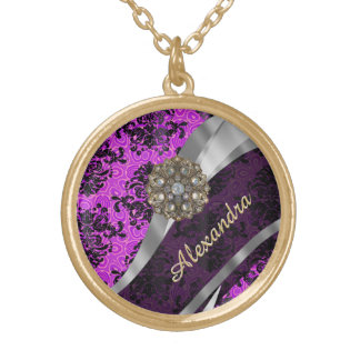 Personalized pretty magenta girly damask pattern gold plated necklace