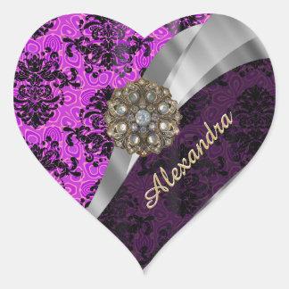 Personalized pretty magenta girly damask pattern heart sticker