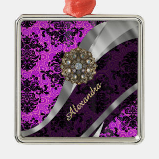 Personalized pretty magenta girly damask pattern metal ornament
