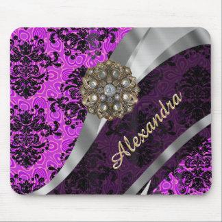 Personalized pretty magenta girly damask pattern mouse pad
