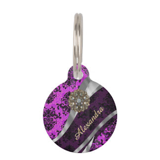 Personalized pretty magenta girly damask pattern pet ID tag