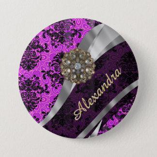 Personalized pretty magenta girly damask pattern pinback button