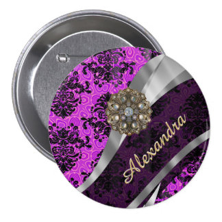 Personalized pretty magenta girly damask pattern pinback button