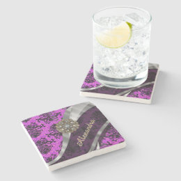 Personalized pretty magenta girly damask pattern stone coaster