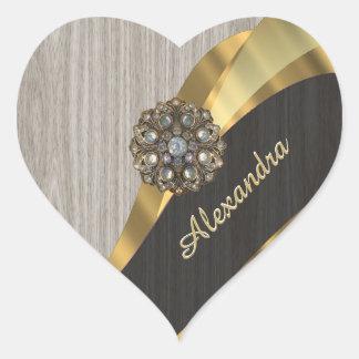Personalized pretty modern faux wood grain heart sticker