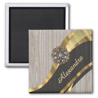 Personalized pretty modern faux wood grain 2 inch square magnet