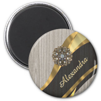 Personalized pretty modern faux wood grain 2 inch round magnet