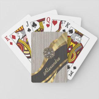 Personalized pretty modern faux wood grain card deck