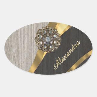 Personalized pretty modern faux wood grain oval sticker